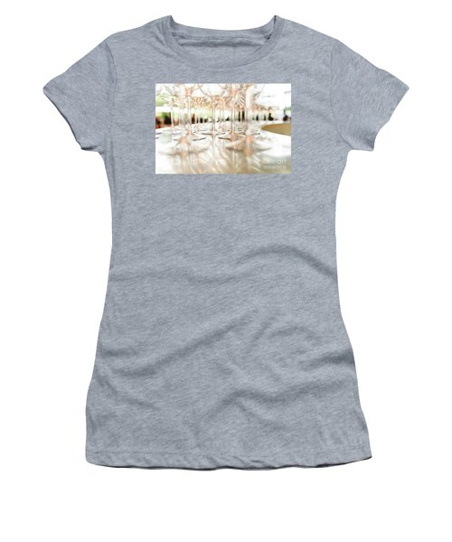 Group Of Empty Transparent Glasses Ready For A Party In A Bar. Women's T-Shirt