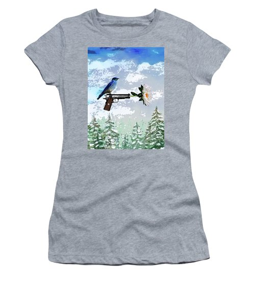Bluebird Of Happiness- Flower In A Gun Women's T-Shirt