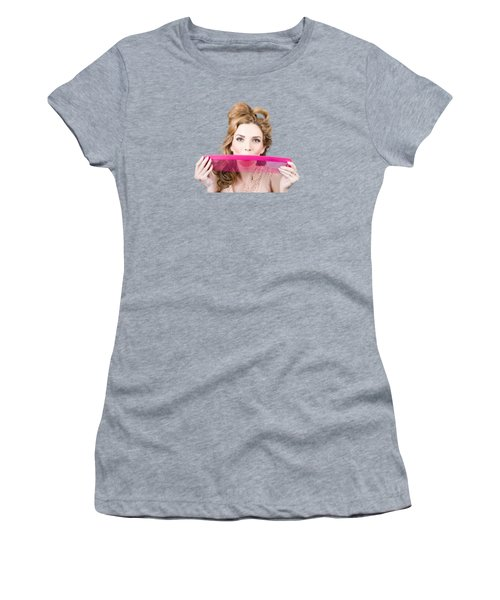 Happy Hairstyle Pinup Woman Smiling With Hair Comb Women's T-Shirt