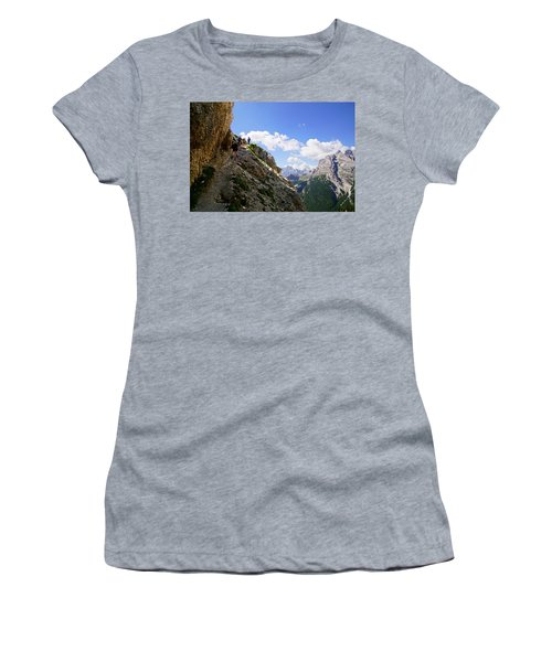 Hikers On Steep Trail Up Monte Piana Women's T-Shirt