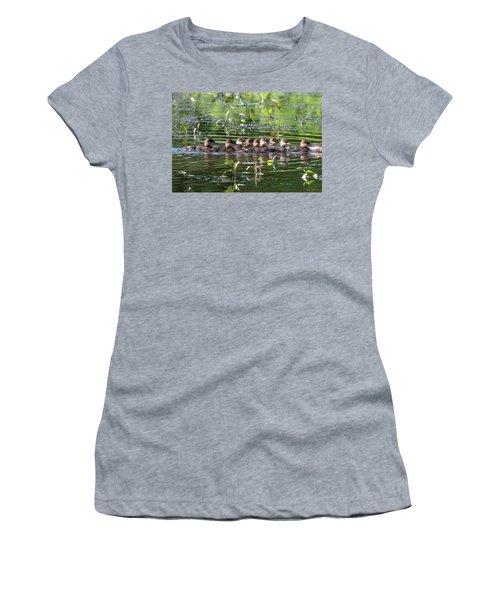 Hooded Merganser Ducklings Dwf0203 Women's T-Shirt