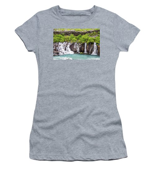 Women's T-Shirt featuring the photograph Hraunfossar Falls - Iceland by Marla Craven