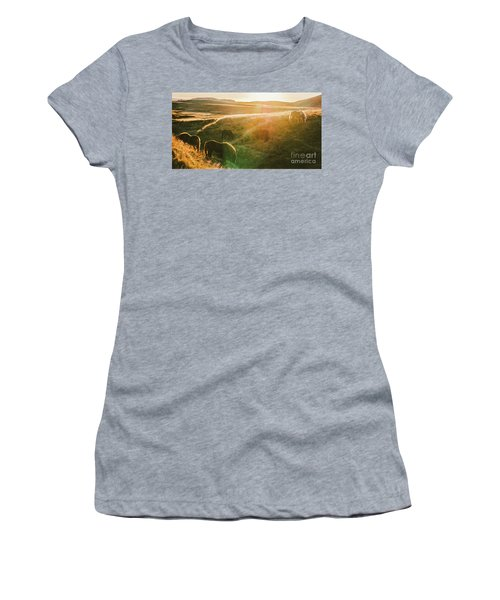 Icelandic Landscapes, Sunset In A Meadow With Horses Grazing  Ba Women's T-Shirt