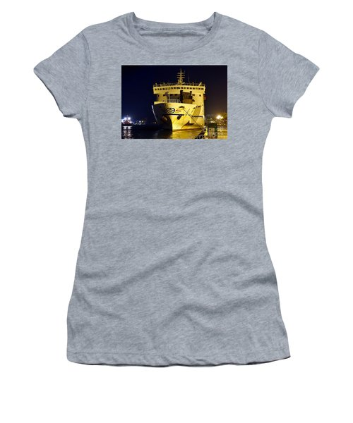 Large Ferry Docked In Port By Night Women's T-Shirt