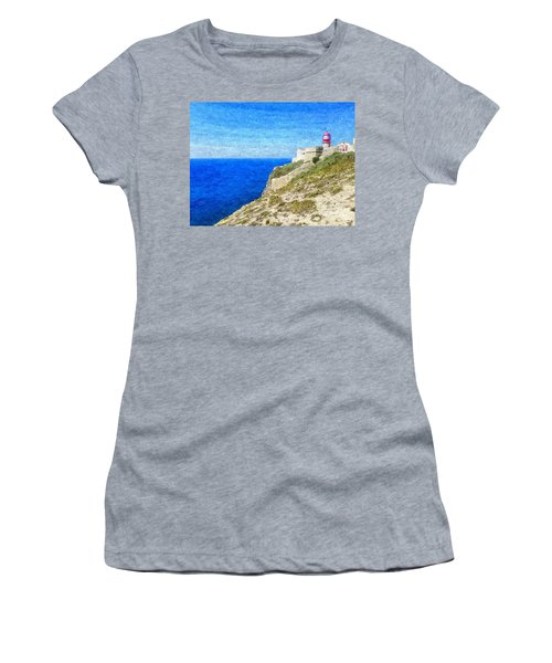 Lighthouse On Top Of A Cliff Overlooking The Blue Ocean On A Sunny Day, Painted In Oil On Canvas. Women's T-Shirt