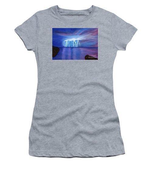 Lightning On The Sea At Night Women's T-Shirt