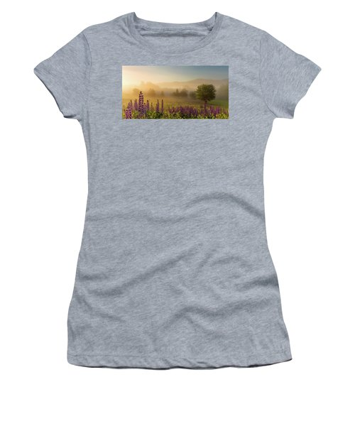 Women's T-Shirt featuring the photograph Lupine In The Fog, Sugar Hill, Nh by Jeff Sinon