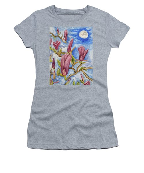 Magnolias With Daytime Moon Women's T-Shirt