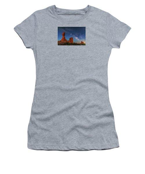 Milky Way Over Balanced Rock At Twilight Women's T-Shirt