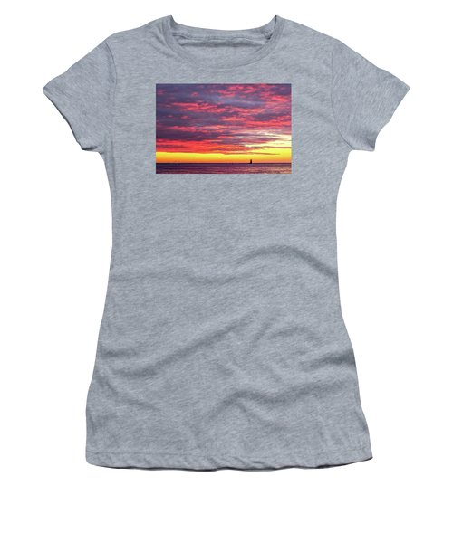 Women's T-Shirt featuring the photograph Morning Fire Over Whaleback Light by Jeff Sinon