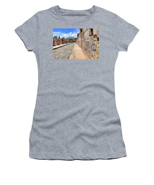 Mount Vesuvius And The Ruins Of Pompeii Italy Women's T-Shirt