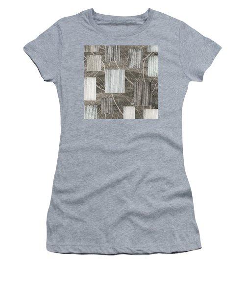 Neutral Leaf Print Squares Cream Women's T-Shirt