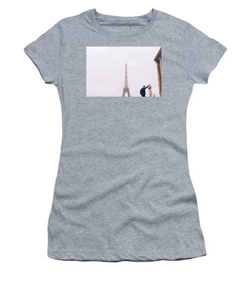 Newly-wed Couple On Their Honeymoon In Paris, Loving Having A Date Near The Eiffel Tower Women's T-Shirt