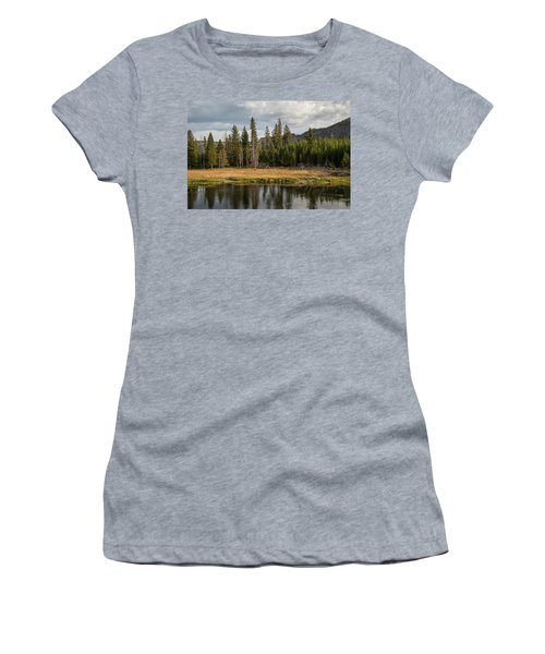 Women's T-Shirt (Athletic Fit) featuring the photograph On The Banks Of The Madison River by Lon Dittrick