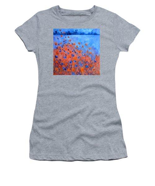 Orange And Blue Field Flowers Women's T-Shirt