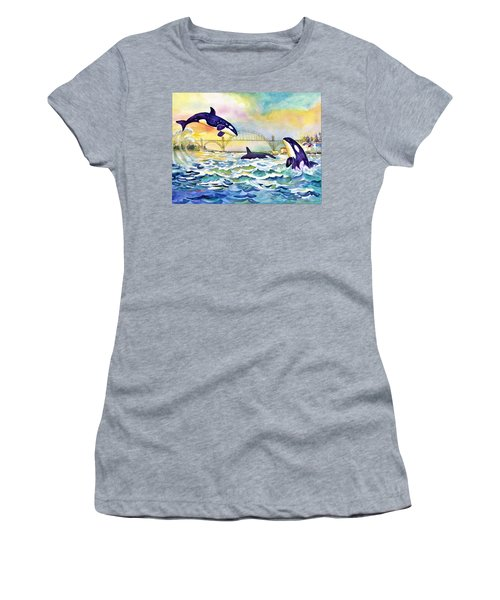 Orcas In Yaquina Bay Women's T-Shirt