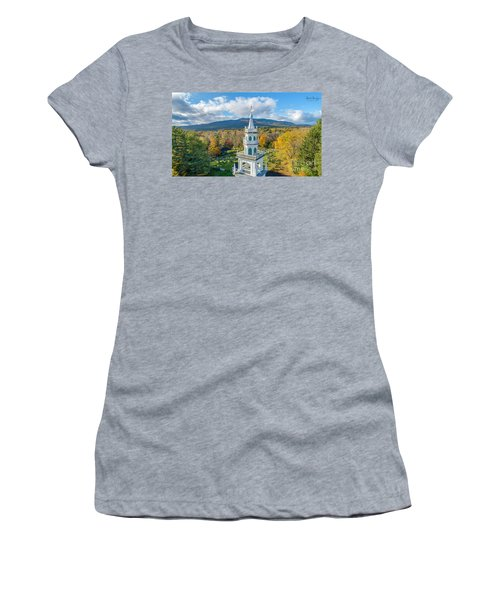 Women's T-Shirt (Athletic Fit) featuring the photograph Original Meeting House Jaffrey Nh by Michael Hughes