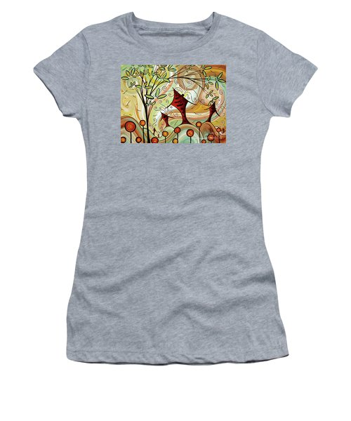 Original Whimsical Houses Landscape Paintings Fire Poppies By Megan Duncanson Women's T-Shirt