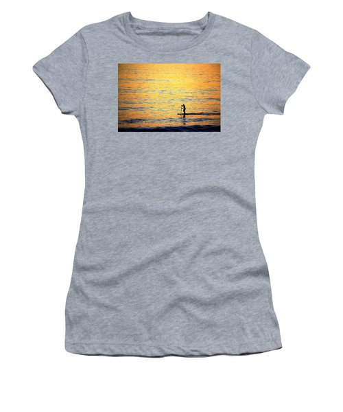 Women's T-Shirt (Athletic Fit) featuring the photograph Paddle Boarder Malibu by John Rodrigues