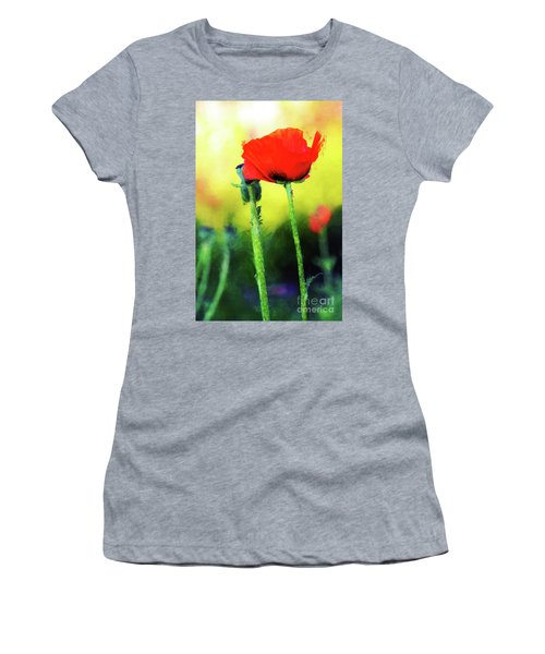 Painted Poppy Abstract Women's T-Shirt