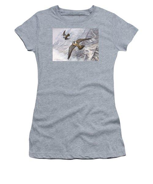 Pair Of Peregrine Falcons In Flight Women's T-Shirt