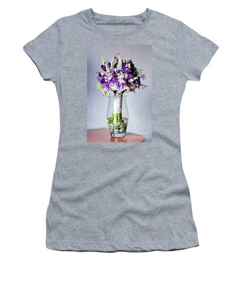 Perfect Bridal Bouquet For Colorful Wedding Day With Natural Flowers. Women's T-Shirt