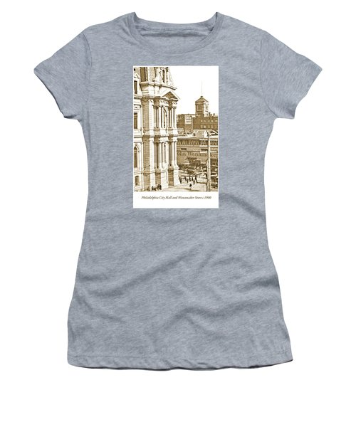 Philadelphia City Hall And Wanamaker Store C 1900 Vintage Photog Women's T-Shirt