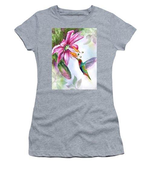 Pink Flower For Hummingbird Women's T-Shirt