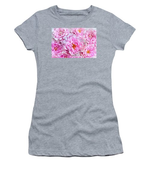 Pink Flowers Everywhere Women's T-Shirt (Athletic Fit)