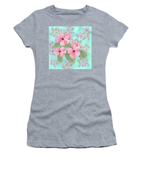 Pink Hibiscus Print On Aqua Women's T-Shirt
