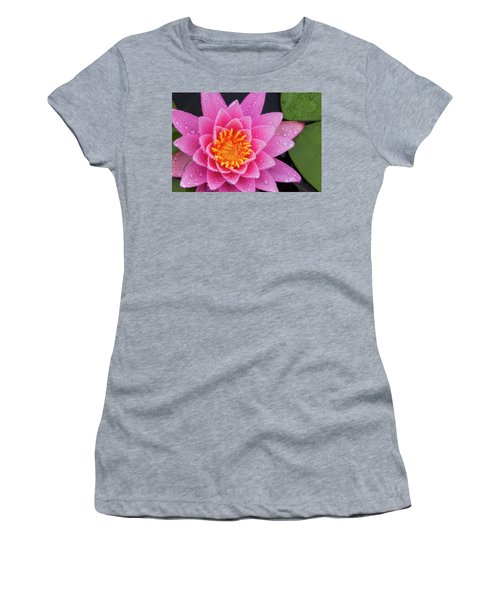 Women's T-Shirt featuring the photograph Pink Petals In The Rain  by Jeff Sinon