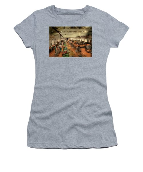 Women's T-Shirt (Athletic Fit) featuring the photograph Plane - Factory - Aircraft Repair 1919 by Mike Savad