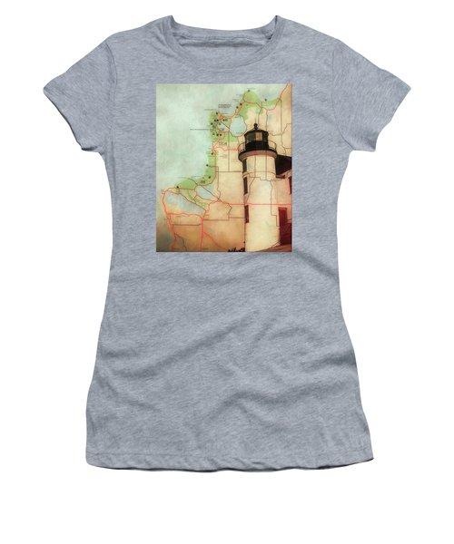 Point Betsie Lighthouse Map Women's T-Shirt
