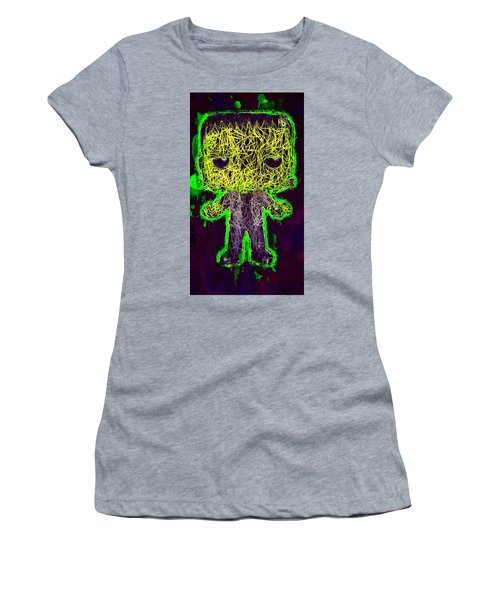 Women's T-Shirt featuring the mixed media Frankenstein Pop 2 by Al Matra