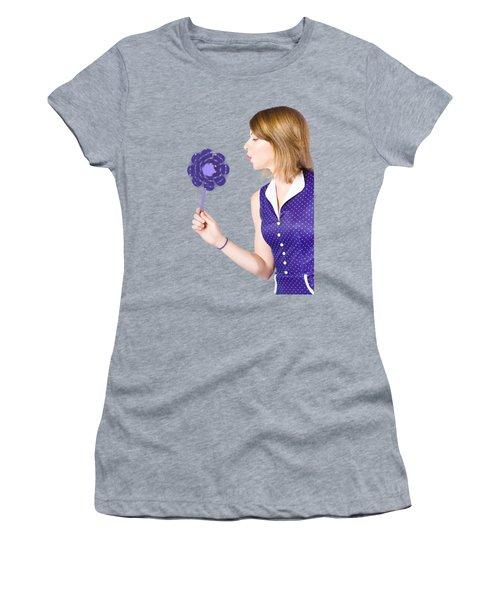 Pretty Pin Up Girl Playing With Purple Pinwheel Women's T-Shirt