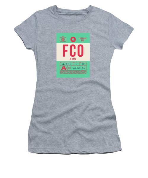 Retro Airline Luggage Tag 2.0 - Fco Rome Italy Women's T-Shirt