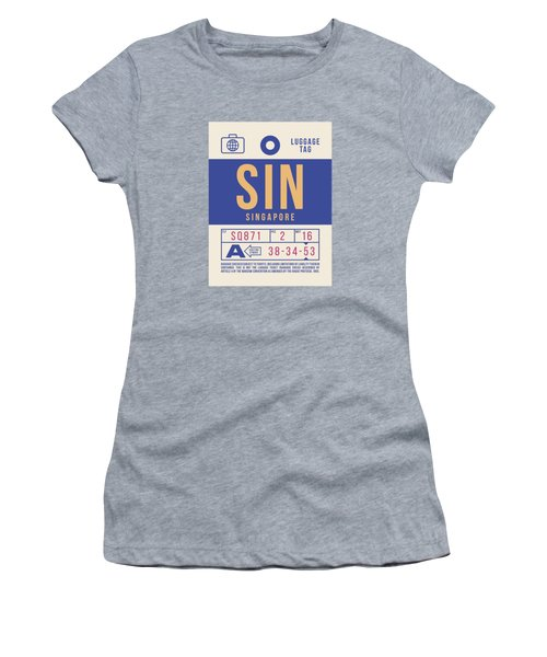 Retro Airline Luggage Tag 2.0 - Sin Singapore Changi Airport Women's T-Shirt