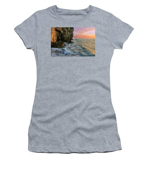 Rocky Cliffs And Waves During Sunset Women's T-Shirt