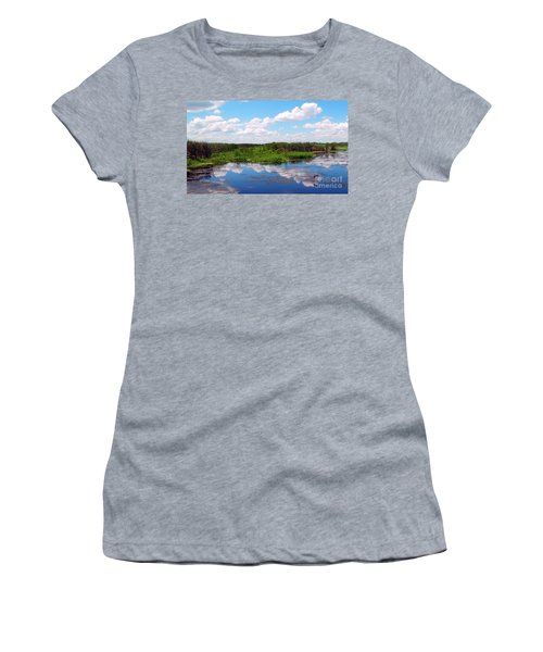 Skyscape Reflections Blue Cypress Marsh Near Vero Beach Florida C6 Women's T-Shirt