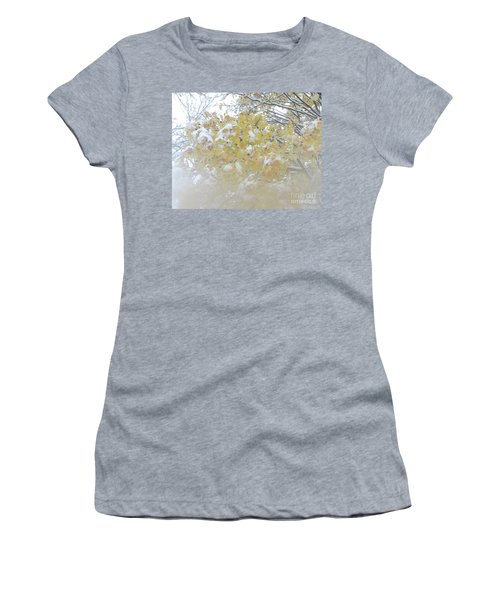 Women's T-Shirt featuring the photograph Snowy Maple by PJ Boylan