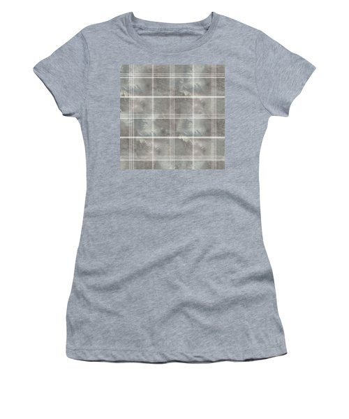 Soft Textured Cream And Blue Plaid Women's T-Shirt