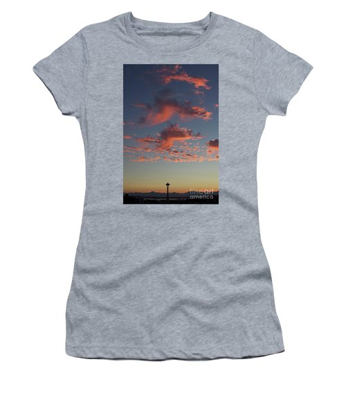 Space Needle And Pink Clouds Women's T-Shirt