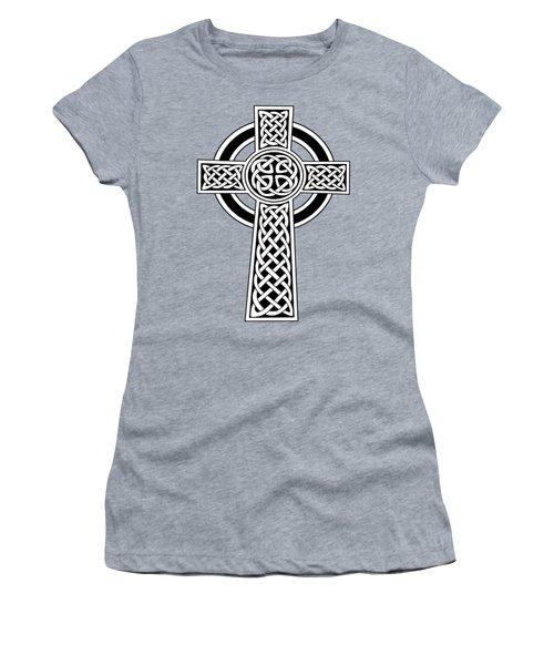 St Patrick's Day Celtic Cross Black And White Women's T-Shirt