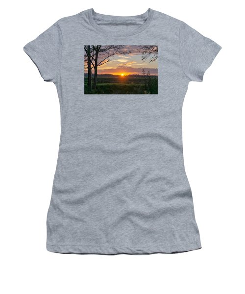 Women's T-Shirt featuring the photograph Sunset by Anjo Ten Kate