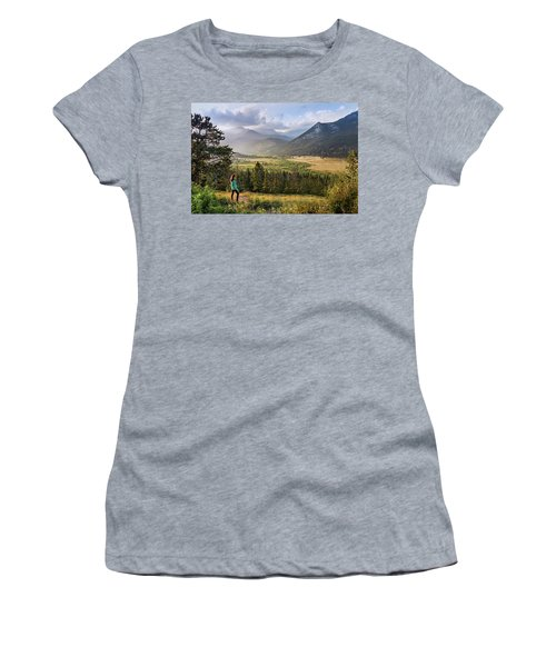 Women's T-Shirt featuring the photograph Sunset In The Rockies by James Woody