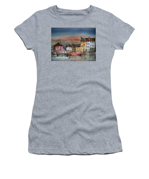 Women's T-Shirt featuring the painting Sunset On  Cloondra, Co. Longford by Val Byrne