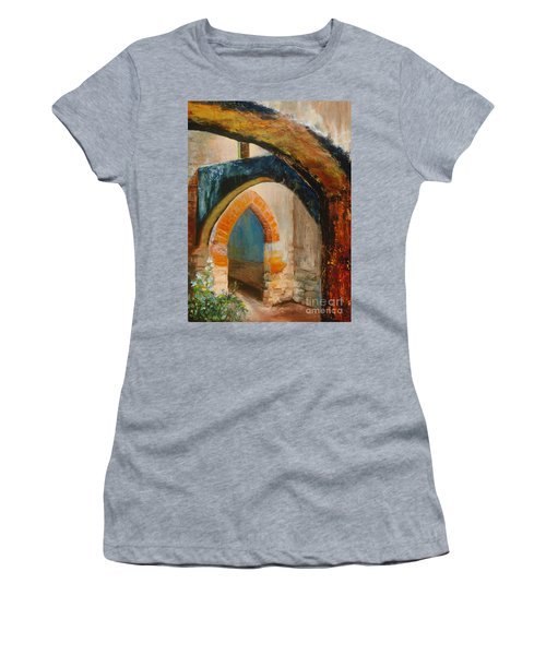 Women's T-Shirt (Athletic Fit) featuring the painting The Mission by Donna Hall