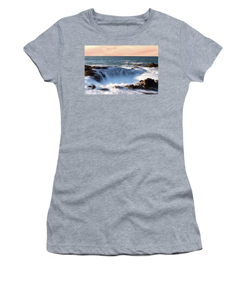 Women's T-Shirt (Athletic Fit) featuring the photograph Thor's Well Sunset 1115 by Rospotte Photography