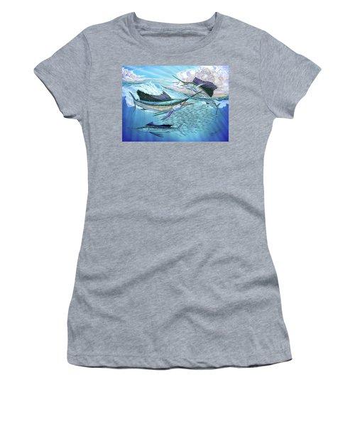 Three Sailfish And Bait Ball Women's T-Shirt