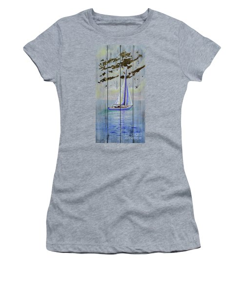 Women's T-Shirt featuring the painting Time To Sail by Mary Scott